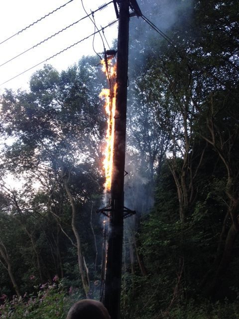 One of the electricity poles in full blaze!