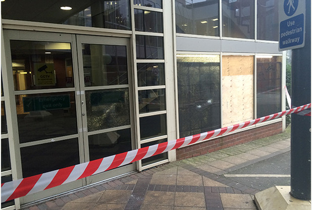 Burton College had six windows shattered in total.