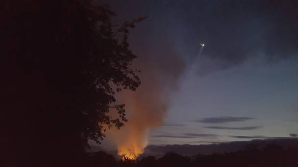 Fire To Oberstown!: The scene from afar last August